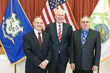 From left, Middlefield Selectman Robert Yamartino, First Selectman Edward Bailey and Selectman David Burgess were sworn into their elected posts this week.