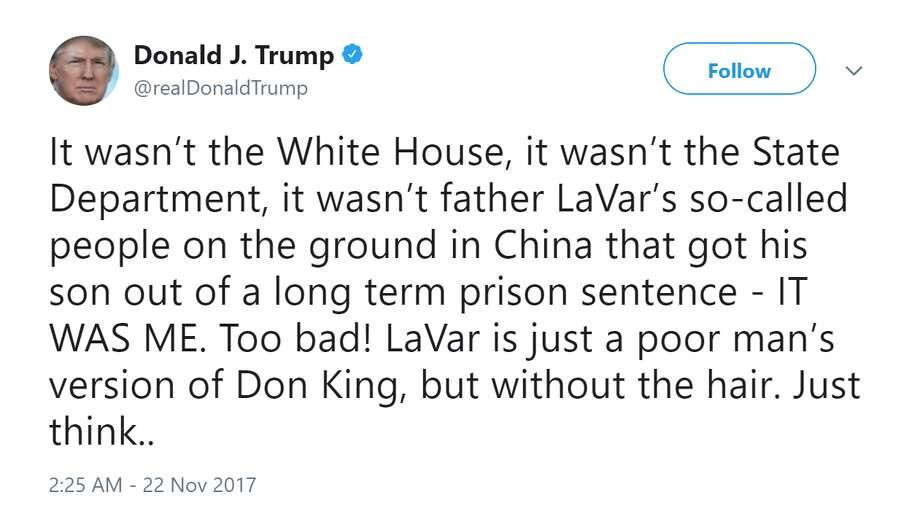 President Donald J. Trump on LaVar Ball. Photo: President Donald J. Trump Via Twitter