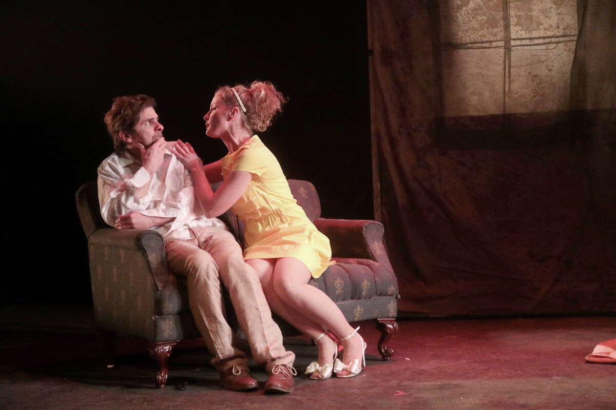 "George Parker, Jeanne Harris in Catastrophic Theatre's ""Rhinoceros."""