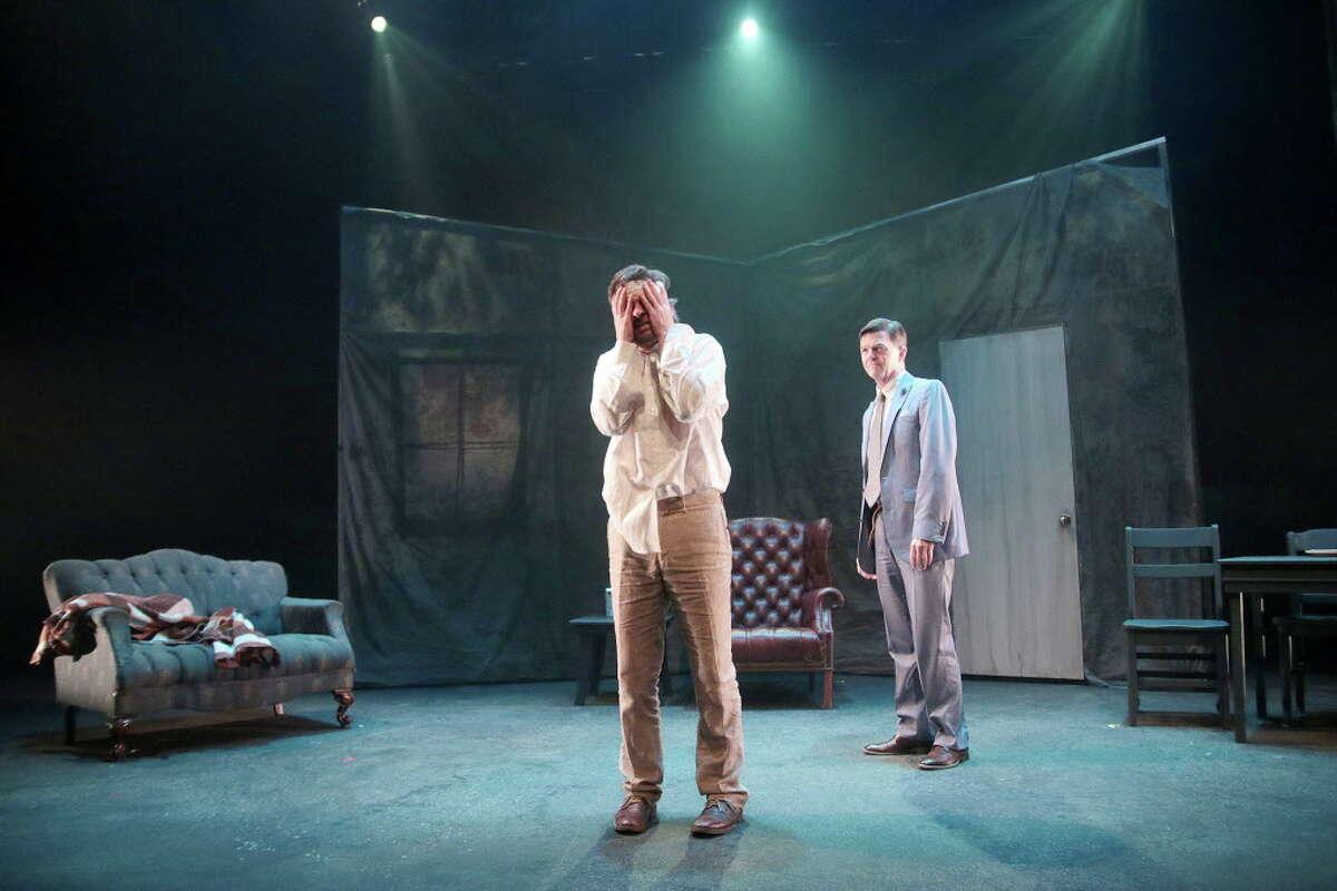 "George Parker, Joel Sandel in Catastrophic Theatre's ""Rhinoceros."""