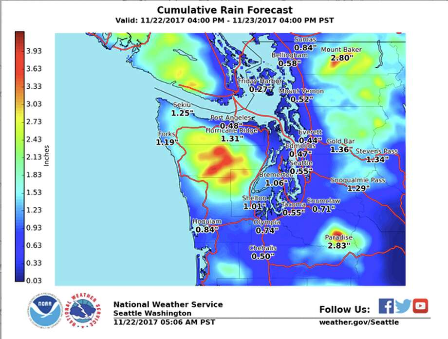 This cumulative rainfall map shows how much rain is expected to drop with the next wet front coming Wednesday night. Photo: National Weather Service
