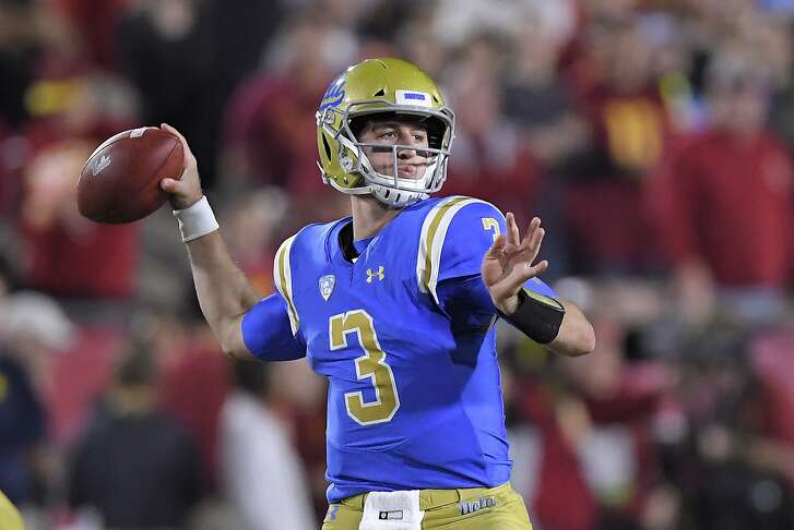 UCLA quarterback Josh Rosen passes during the first half of an NCAA college football game against Southern California, Saturday, Nov. 18, 2017, in Los Angeles. (AP Photo/Mark J. Terrill)