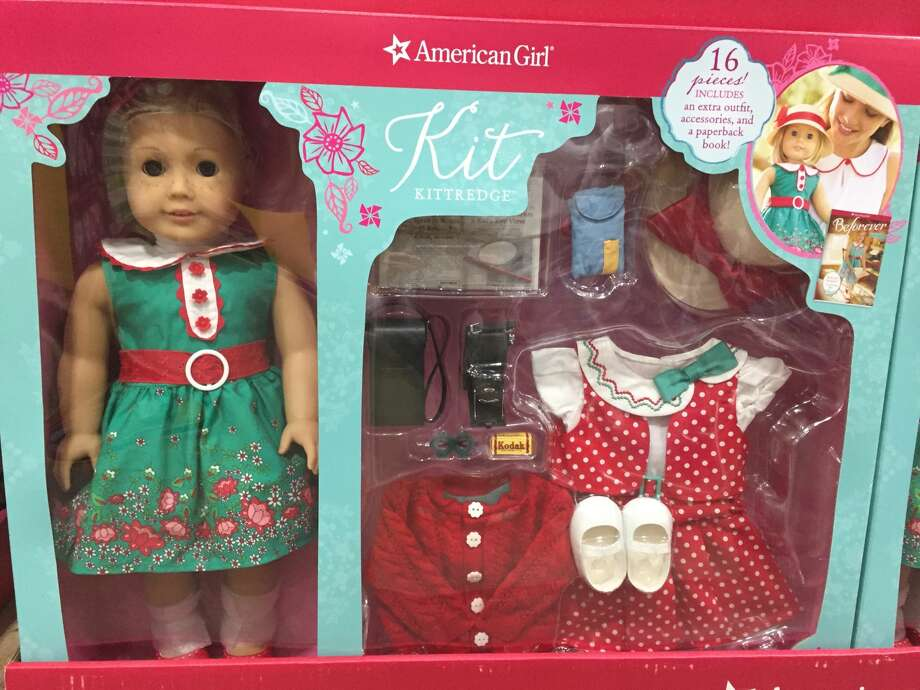 American Girl Dolls for sale at Costco, November 2017. A package that includes a Kit doll offers $60 in savings. Photo: Amy Graff