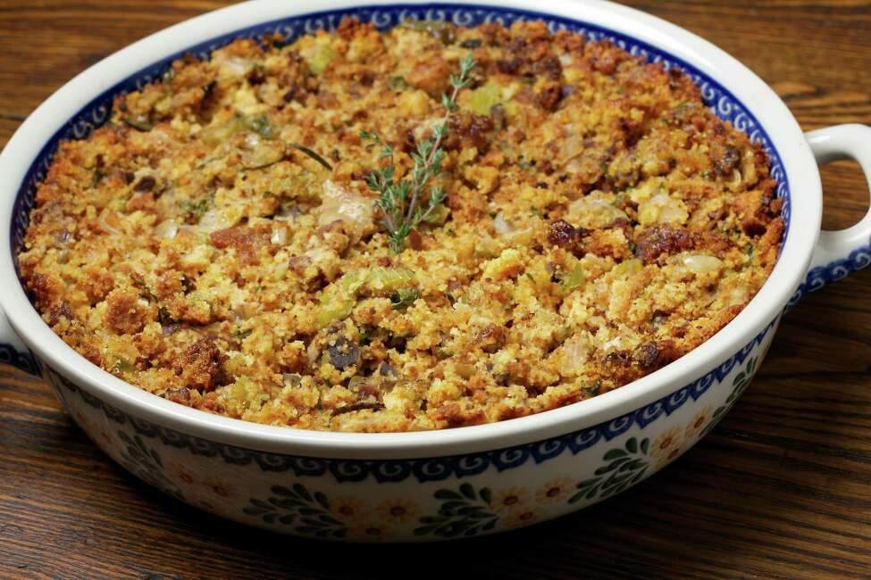 Nana's Andouille and Corn Bread Dressing. MUST CREDIT: Photo by Deb Lindsey for The Washington Post.
