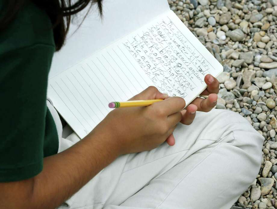 Blanca Alejandrez, right, a fourth-grader at Agnes Cotton Academy, writes notes about nature during a field trip Nov. 2, 2017, to Guadalupe River State Park guided by Joey Fauerso, a Texas State University art professor who has been commissioned to paint a mural near Cotton Elementary School. Photo: Bob Owen /San Antonio Express-News / ©2017 San Antonio Express-News