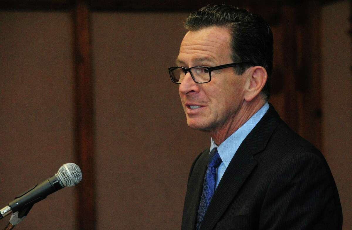 Gov. Dannel P. Malloy makes his remarks during the swearing-in ceremony for Norwalk Mayor Harry Rilling on Tuesday in Norwalk.