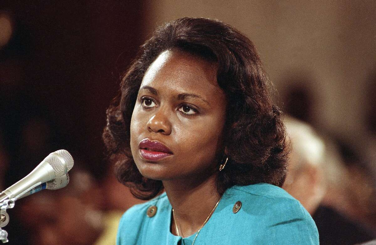 """FILE - This Oct. 11, 1991 file photo shows University of Oklahoma law professor Anita Hill testifying before the Senate Judiciary Committee on Capitol Hill in Washington. Hill made national headlines in 1991 when she testified that then-Supreme Court nominee Clarence Thomas had sexually harassed her. Now, more than 20 years later, director Freida Mock explores Hill's landmark testimony and the resulting social and political changes in the documentary """"Anita."""" (AP Photo/Greg Gibson)"""