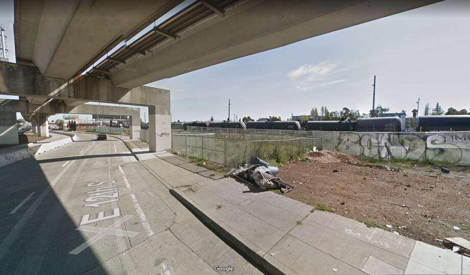 Police dispatchers received information from a caller about 3:15 a.m. that a man with a gunshot wound was lying on the ground under the freeway overpass, just west of the intersection of E. 12th Street and 19th Avenue, said Officer Johnna Watson of the Oakland Police Department. Photo: Google Maps