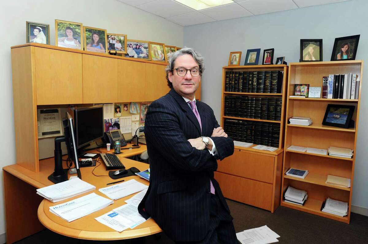 Clarke Futch, managing partner at health care investment firm HealthCare Royalty Partners, poses for a photo inside his office on Atlantic St. in downtown Stamford, Conn. on Tuesday, Feb. 14, 2017.