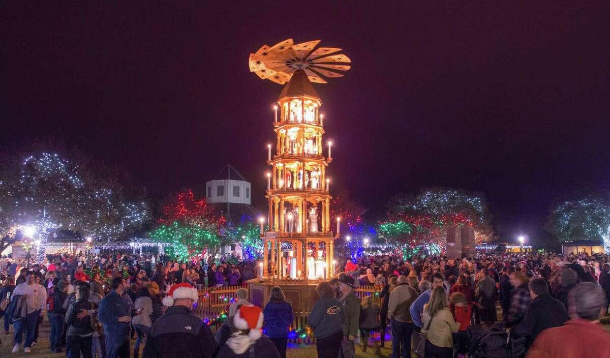 The German Christmas Pyramid joins a Community Christmas tree downtown Fredericksburg. The lighting takes place Friday, Nov. 24.
