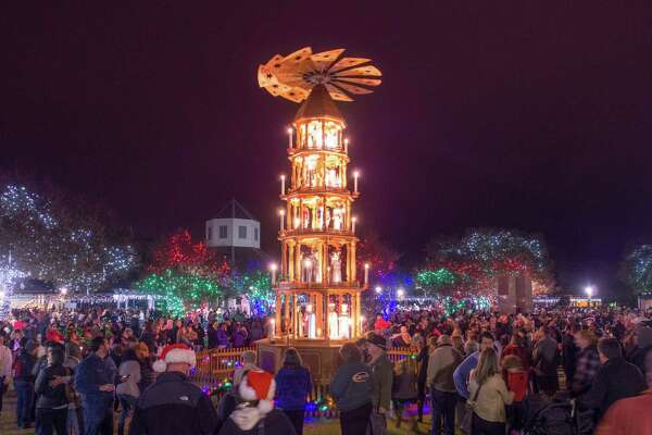 The German Christmas Pyramid joins a Community Christmas tree downtown Fredericksburg. The lighting takes place Friday, Nov. 24.