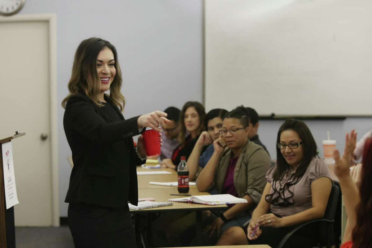 CASA President and CEO Marina J. Gonzales answers questions recently during a staff meeting.