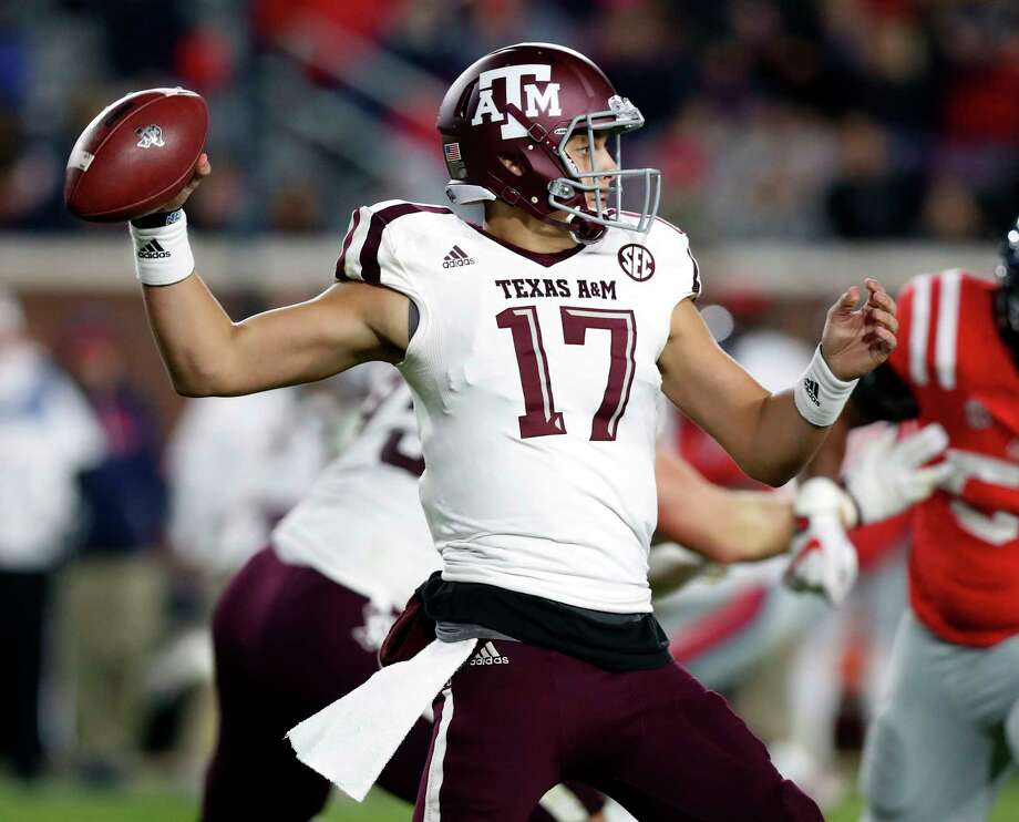 Texas A&M quarterback Nick Starkel (17) readies to pass against Mississippi during the second half of an NCAA college football game in Oxford, Miss., Saturday, Nov. 18, 2017. Texas A&M won 31-24. (AP Photo/Rogelio V. Solis) Photo: Rogelio V. Solis, STF / Copyright 2017 The Associated Press. All rights reserved.