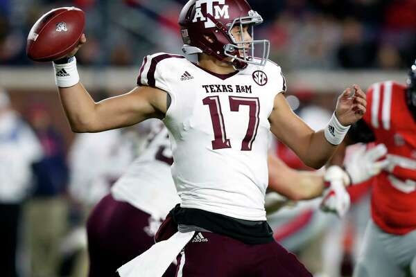 Texas A&M quarterback Nick Starkel (17) readies to pass against Mississippi during the second half of an NCAA college football game in Oxford, Miss., Saturday, Nov. 18, 2017. Texas A&M won 31-24. (AP Photo/Rogelio V. Solis)