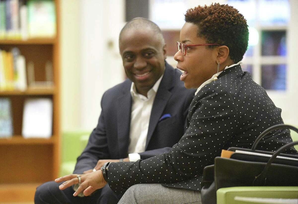 Ron and Tiffany S.W. Hamilton, a couple that recently relocated from the mid-west, talk about settling and making their home in Stamford, Connecticut on Tuesday, Nov. 15, 2017. The couple talks about family life during an interview at the Ferguson Library.