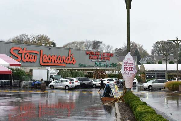 """The massive Stew Leonard's sign, accompanying """"Ripley's Believe It or Not"""" lettering at the company's flagship store in Norwalk, Conn., on Wednesday, Nov. 22, 2017."""