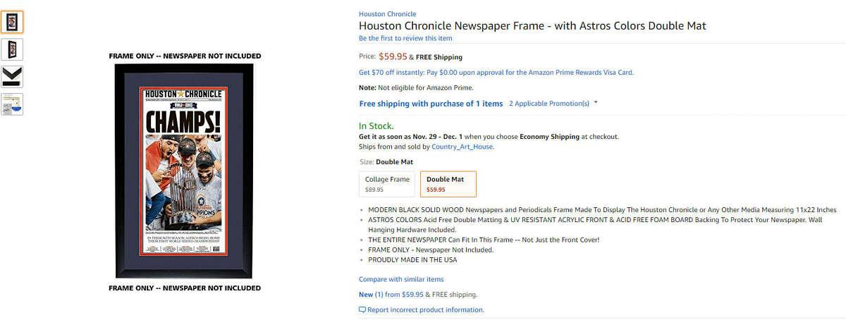 Houston Chronicle Newspaper Frame $59.99