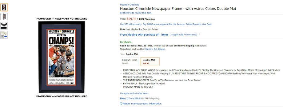 Houston Chronicle Newspaper Frame$59.99 Photo: Amazon