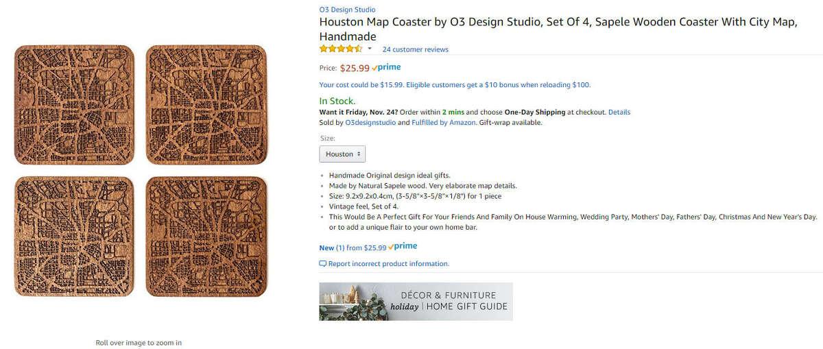 Houston Map Coasters $25.99