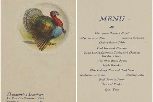 1915, San Francisco Commercial Club:   Thanksgiving luncheon menu .