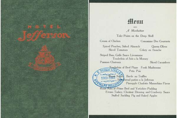 1906, Jefferson Hotel, San Francisco:   Thanksgiving menu .