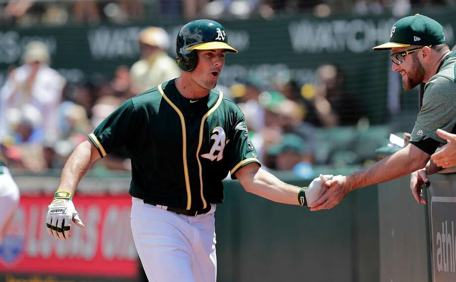 A's Jaycob Brugman after a solo home run in the 4th inning, as the Oakland Athletics take on the Chicago White Sox at the Oakland Coliseum on Wednesday July 5, 2017, in Oakland, Ca. Photo: Michael Macor, The Chronicle