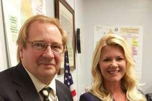 Shelton School Board Chairman Mark Holden and new member Mandy Kilmartin