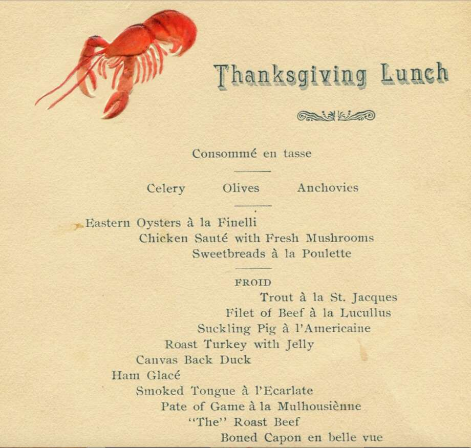 1893, Pacific Union Club, San Francisco: menu from the traditional Thanksgiving Lunch. Photo: Henry Voigt Collection