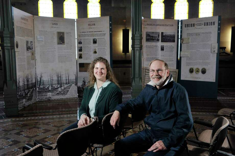 Andrea Foroughi, left, a professor of history at Union College and Tom Werner, a retired professor of chemistry at Union College, were the curators for the  exhibit entitled Profound & Poignant: Union College Connections to the Civil War Era which is on display inside the Nott Memorial on Tuesday, April 28, 2015, at Union College in Schenectady, N.Y.  (Paul Buckowski / Times Union) Photo: PAUL BUCKOWSKI / 00031597A