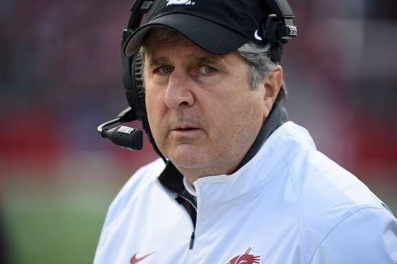 November 7, 2015: WSU head coach Mike Leach during the PAC-12 game between the Arizona State University Sun Devils and the Washington State University Cougars played at Martin Stadium, in Pullman Washington on the campus of Washington State. WSU became bowl-eligible with a 38-24 win improving their PAC-12 record to 4-2 and their season record to 6-3. ASU falls to 4-5 overall and 2-4 in conference play. (Photograph by Robert Johnson/Icon Sportswire) (Photo by Robert Johnson/Icon Sportswire/Corbis via Getty Images)