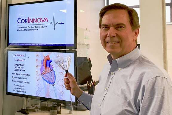 William Altman, CEO of CorInnova, with a prototype of the EpicHeart, a device designed to fit like a glove around the heart and to help it beat for patients with heart failure. The device is under development at a Houston start-up called CorInnova. The firm is in the middle ground between receiving funding for basic research and having a commercial product that will attract investment, a space entrepreneurs call the Valley of Death.