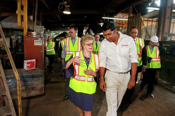 Linda McMahon, the 25th Administrator of the U.S. Small Business Administration, during a tour of Tejas Tubular with plant manager Karthik Nagarajan. (For the Houston Chronicle/Gary Fountain, October 11, 2017)