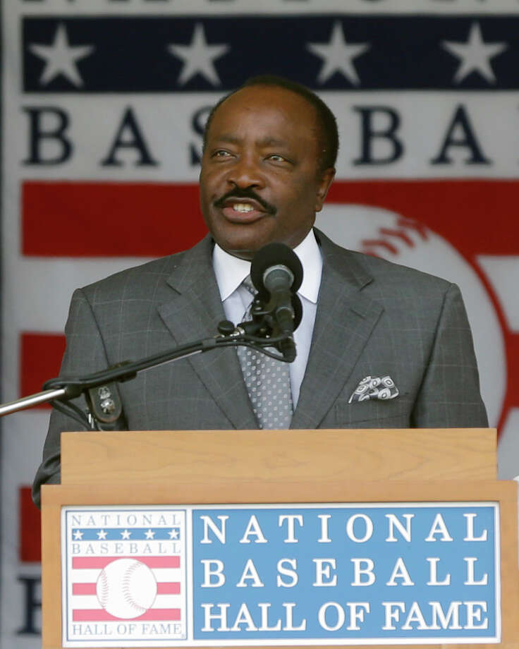 "FILE - In this July 28, 2013, file photo, Baseball Hall of Famer Joe Morgan speaks during ceremonies in Cooperstown, N.Y. Joe Morgan is urging voters to keep ""known steroid users"" out of Cooperstown. A day after the Hall revealed its 33-man ballot for the 2018 class, the 74-year-old Morgan argued against the inclusion of players implicated during baseball's steroid era in a letter to voters with the Baseball Writers' Association of America. The letter was sent Tuesday, Nov. 21, 2017, using a Hall email address. (AP Photo/Mike Groll, File) ORG XMIT: NY163 Photo: Mike Groll / Copyright 2017 The Associated Press. All rights reserved."