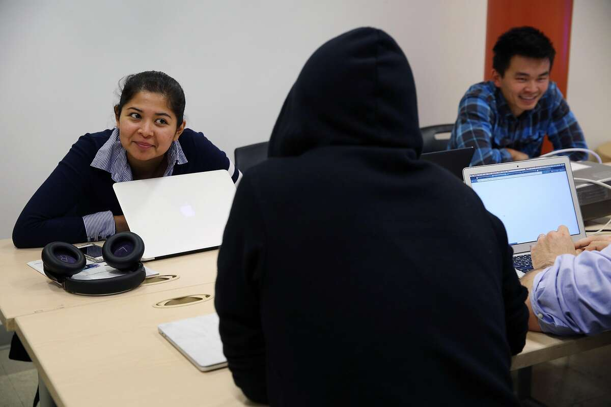 From left: Arai Buendia, Christian Salas and Oscar Chan on Thursday, Nov. 2, 2017, in San Francisco, Calif. The nonprofit Samaschool is helping job seekers learn about gig economy work.