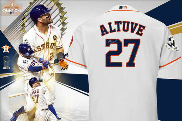 Jose Altuve Houston Astros Fanatics Authentic 2017 MLB World Series Champions Framed Autographed Majestic World Series White Replica Jersey Collage:  This autgraphed jersey display is flat-out gorgeous. Make sure you keep it covered in glass; all your Astros-loving guests are going to drool.  (See price & more details)