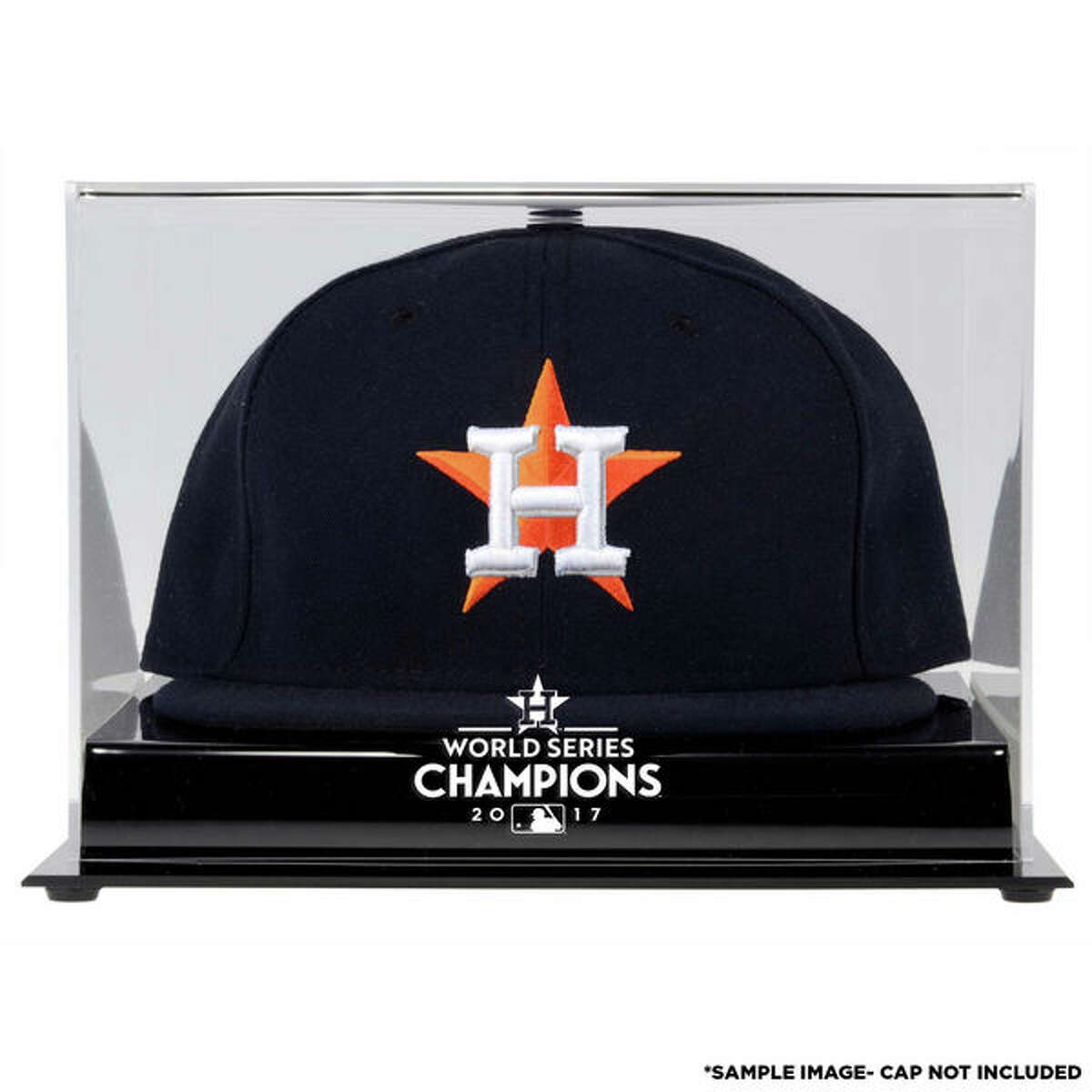 Houston Astros World Series Champions Acrylic Logo cap Display Case: Whether it's the lucky hat your favorite fan wore during Game 7, or a new commemorative hat they purchased after the win, this display case with an authentic Astros World Series logo will keep it safe. (See price & more details)