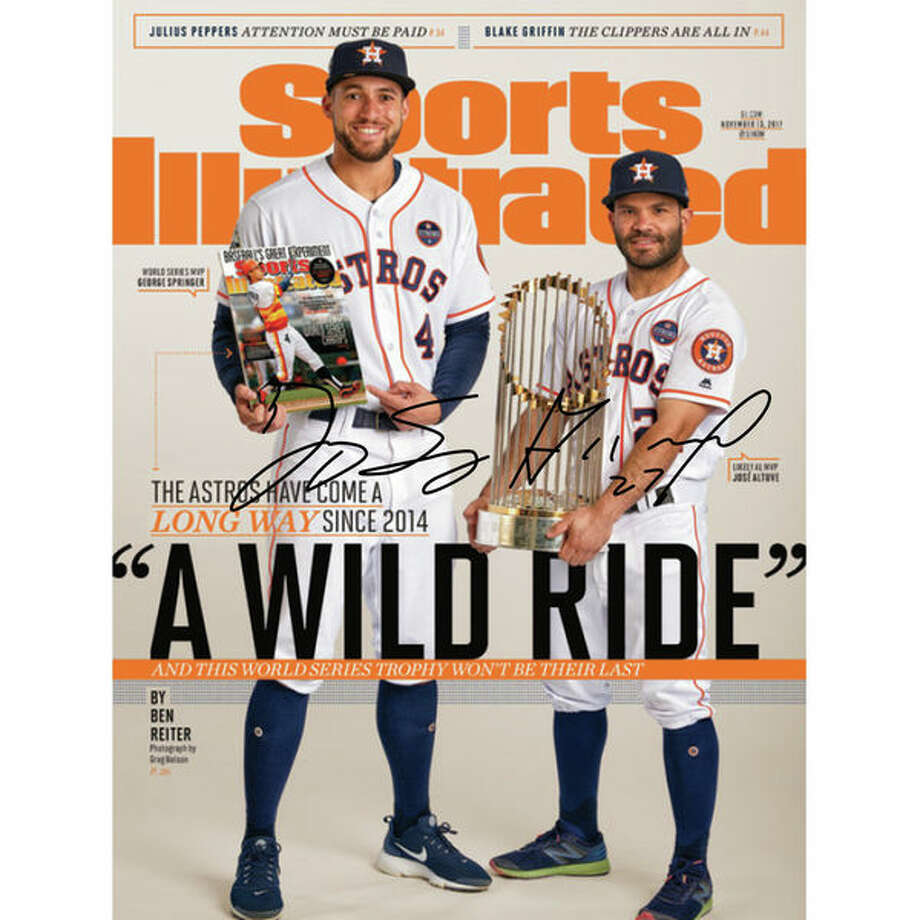 "George Springer and Jose Altuve autographed 16""x 20"" Wild Ride Sports Illustrated Cover Photograph: This collector's item is signed by both AL MVP Jose Altuve and World Series MVP George Springer, making it the ultimate double-play of signed Astros collectibles.(See price & more details) Photo: Fanatics"