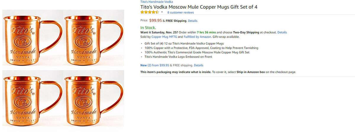 Tito's Vodka Moscow Mule copper mugs