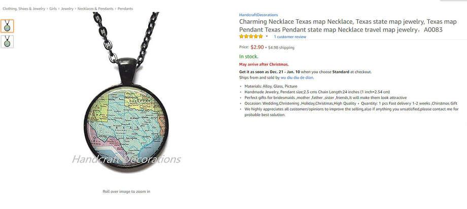 Texas map necklace Photo: Amazon