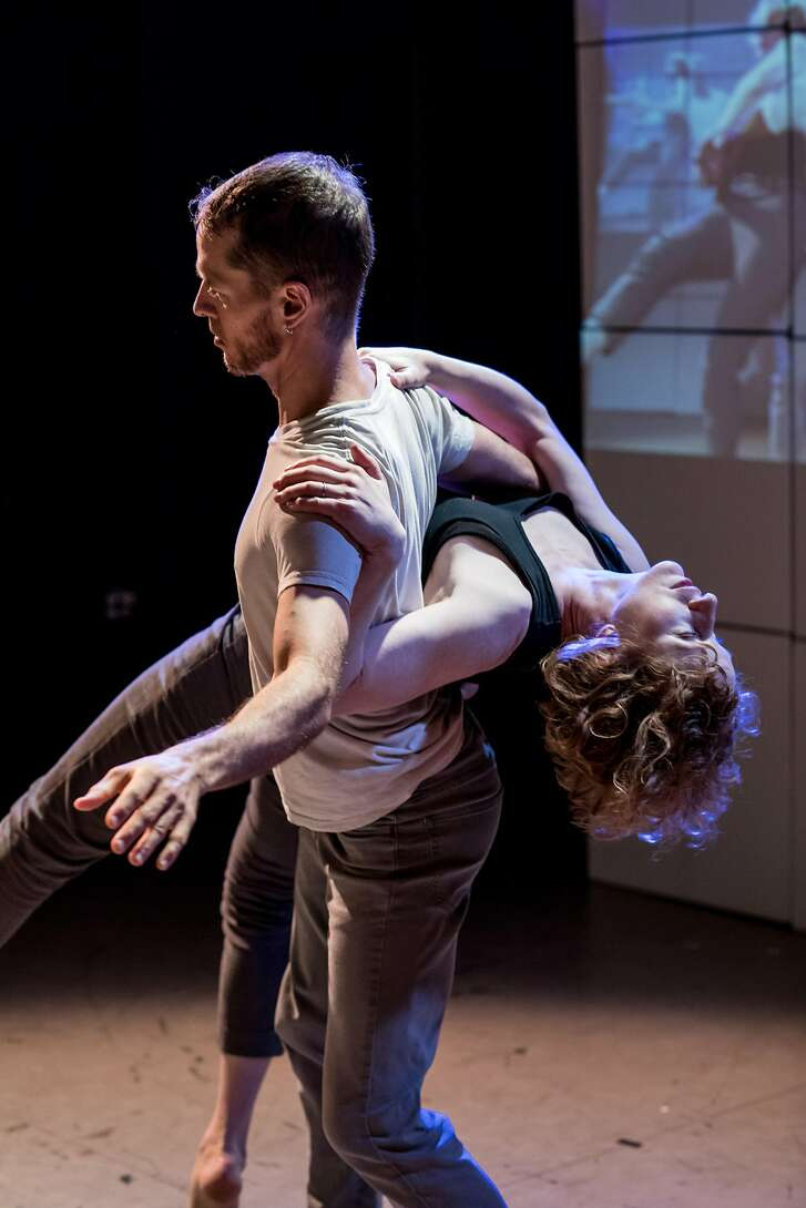 """James Graham and Lisa Wymore in Smith/Wymore Disappearing Acts' """"Six Degrees of Freedom.""""  Photo: Stephen Texeira"""