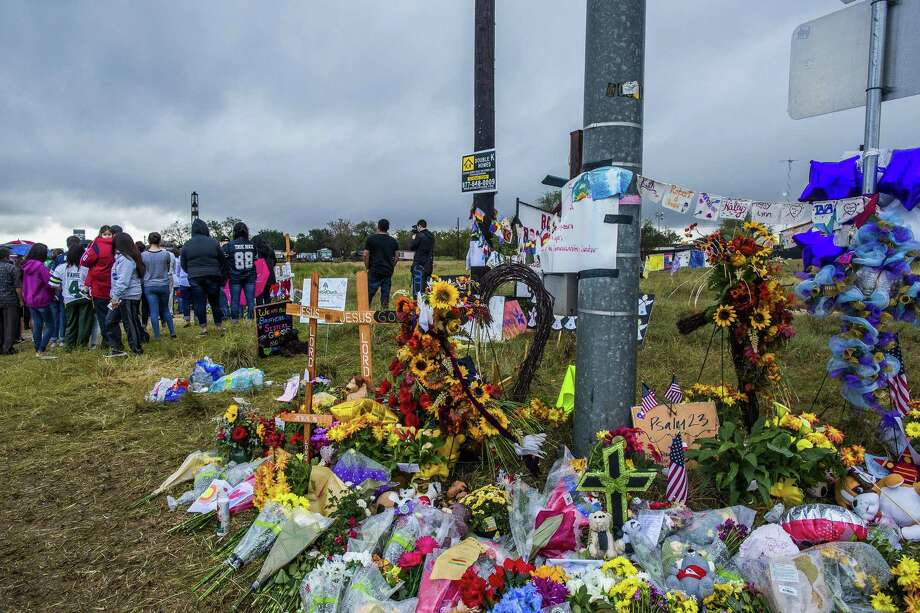 A makeshift memorial near the First Baptist Church in Sutherland Springs, Texas on Nov. 12. A bipartisan group of senators introduced legislation on Nov. 16 that would improve background checks for gun buyers. Photo: DREW ANTHONY SMITH /NYT / NYTNS