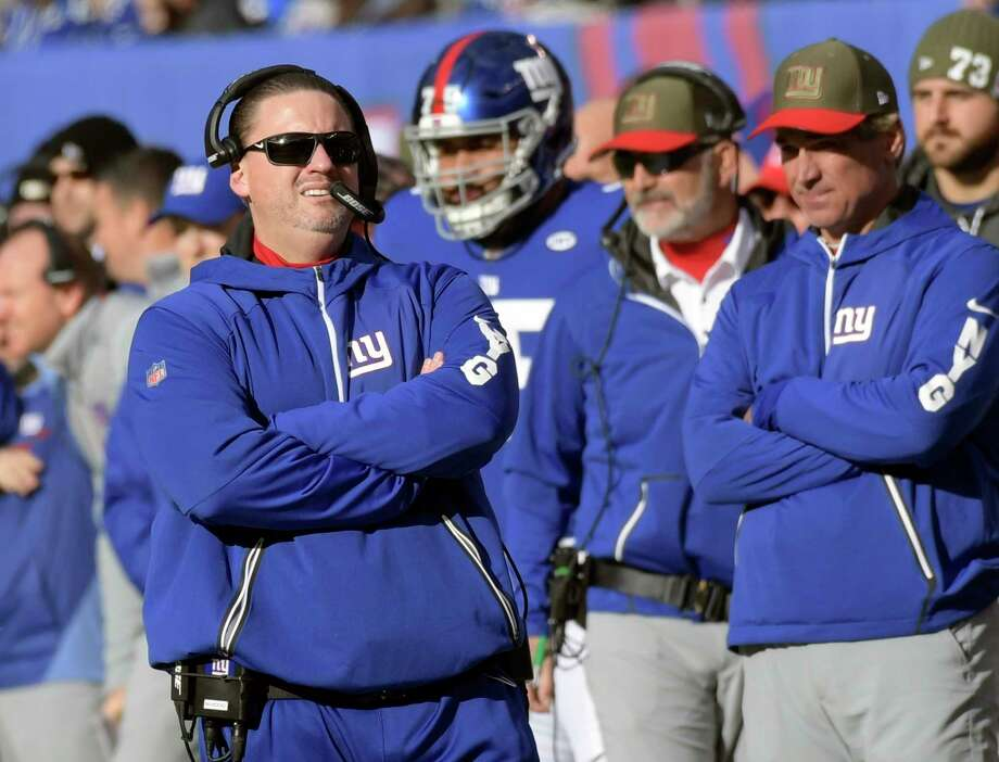 FILE - In this Sunday, Nov. 19, 2017, file photo, New York Giants head coach Ben McAdoo reacts during the first half of an NFL football game against the Kansas City Chiefs in East Rutherford, N.J. With their losing records and their shaky defenses and their injury-depleted rosters, the Washington Redskins and New York Giants are not exactly ready for prime time, let alone for a national audience tuning in on Thanksgiving night. (AP Photo/Bill Kostroun, File) ORG XMIT: NY166 Photo: Bill Kostroun / FR51951 AP