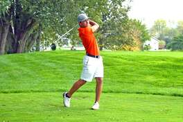 Edwardsville's Ben Tyrrell hits his tee shot on hole No. 9 at The Den at Fox Creek Golf Course in Bloomington during the Class 3A state tournament on Oct. 14.