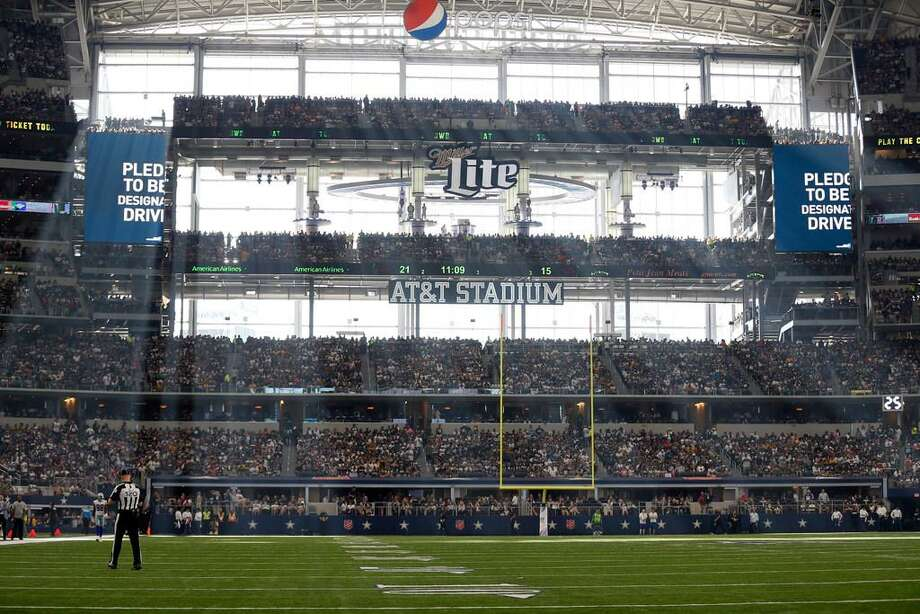 Sunlight comes in through the west end zone wall at AT&T Stadium during a game between the Green Bay Packers and Dallas Cowboys on Oct. 8, 2017, in Arlington, Texas. Photo: Roger Steinman /AP Photo