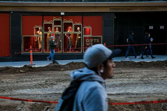 Construction continues on Stockton Street between Geary Street and Ellis Street where the Winter Walk will be held for holiday shoppers in San Francisco, Calif. Tuesday, November 14, 2017.