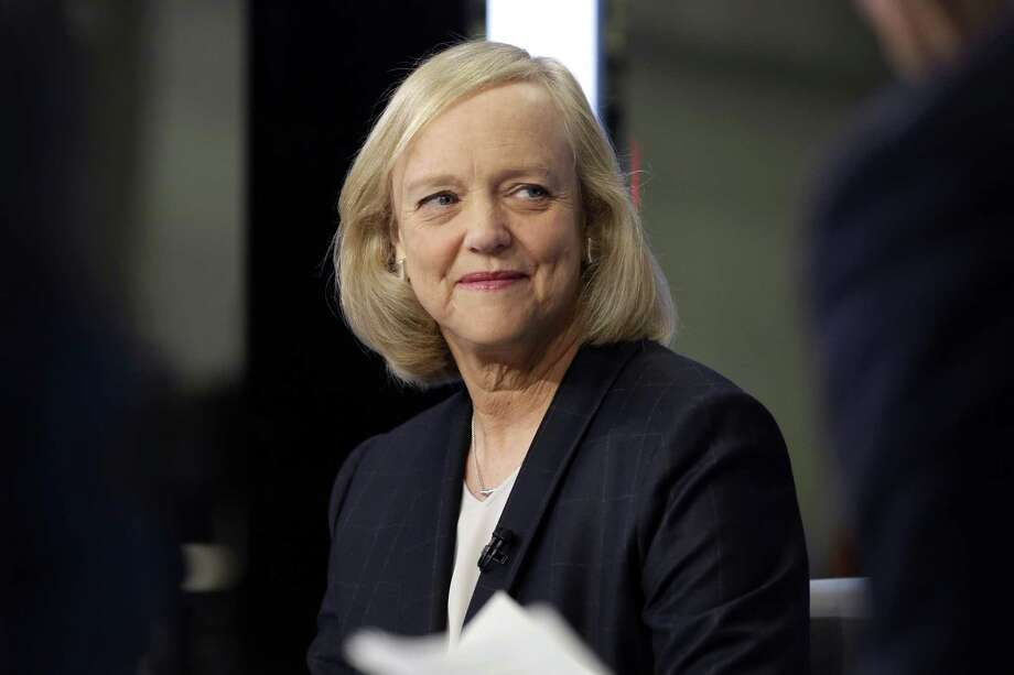 In this Nov. 2, 2015 photo, Hewlett Packard Enterprise President and CEO Meg Whitman is interviewed on the floor of the New York Stock Exchange. Whitman is stepping down as the CEO of Hewlett Packard Enterprise. She'll be replaced by Antonio Neri, the company's president. (AP Photo/Richard Drew) ORG XMIT: NYHK202 Photo: Richard Drew / Copyright 2017 The Associated Press. All rights reserved.