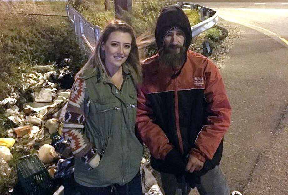 Kate McClure and her benefactor Johnny on an exit ramp of I-95 in Philadelphia. Photo: Go Fund Me
