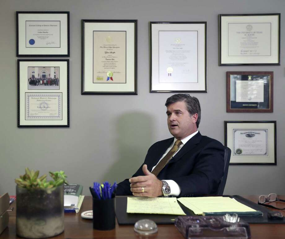 Attorney Tylden Shaeffer talks to the media Wednesday, Nov. 22, 2017 in his office as he announces his bid to become the Bexar County District Attorney. Shearer is running as a Republican against incumbent district attorney Nico LaHood. Photo: William Luther, Staff / San Antonio Express-News / © 2017 San Antonio Express-News
