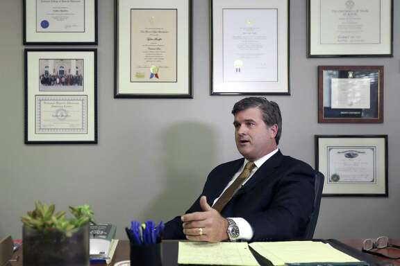 Attorney Tylden Shaeffer talks to the media Wednesday, Nov. 22, 2017 in his office as he announces his bid to become the Bexar County District Attorney. Shearer is running as a Republican against incumbent district attorney Nico LaHood.