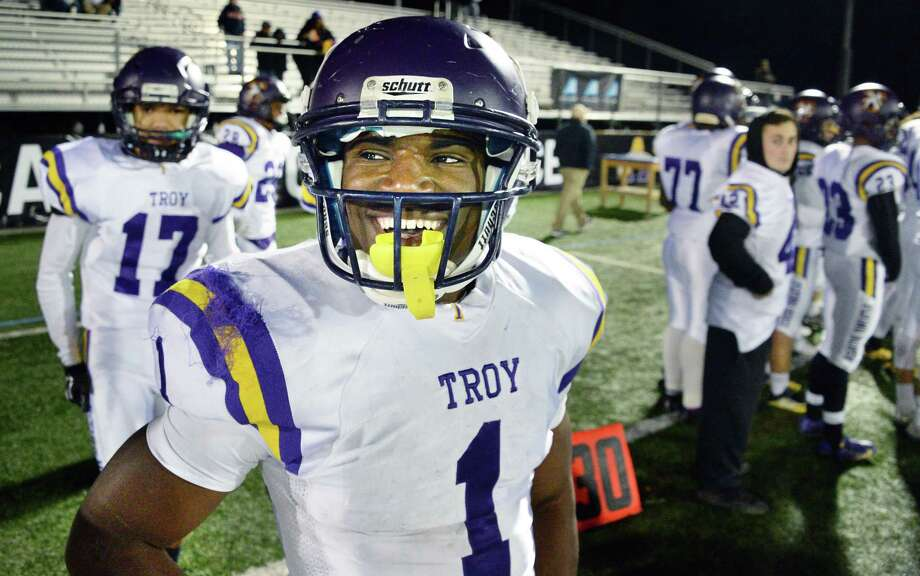 Troy's #1 Joey Ward is all smiles as they defeat Saratoga High in the Class AA Super Bowl Friday Nov. 3, 2017 at UAlbany's Casey Stadium in Albany, NY.  (John Carl D'Annibale / Times Union) Photo: John Carl D'Annibale / 20042003A